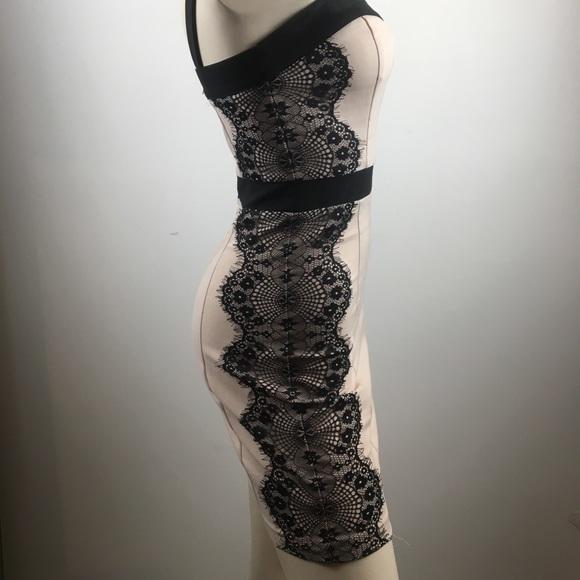 Dynamite Dresses & Skirts - Dynamite pale pink and black lace bodycon dress